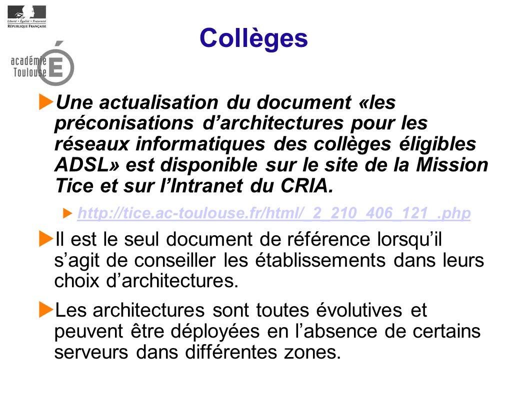 Collèges Une actualisation du document «les préconisations darchitectures pour les réseaux informatiques des collèges éligibles ADSL» est disponible sur le site de la Mission Tice et sur lIntranet du CRIA.