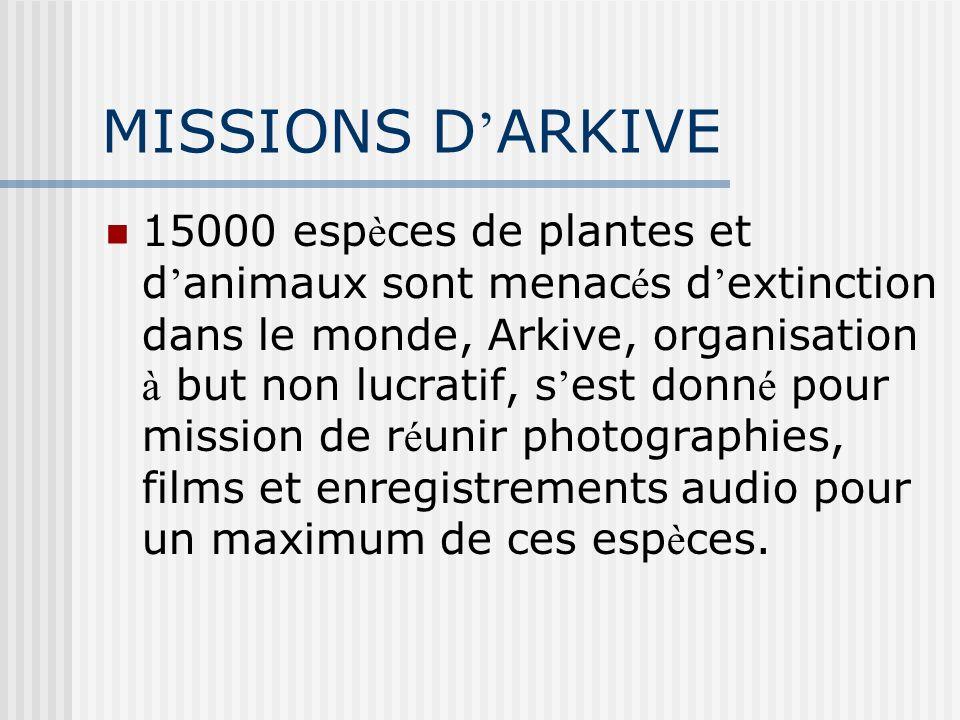 MISSIONS D ARKIVE 15000 esp è ces de plantes et d animaux sont menac é s d extinction dans le monde, Arkive, organisation à but non lucratif, s est do