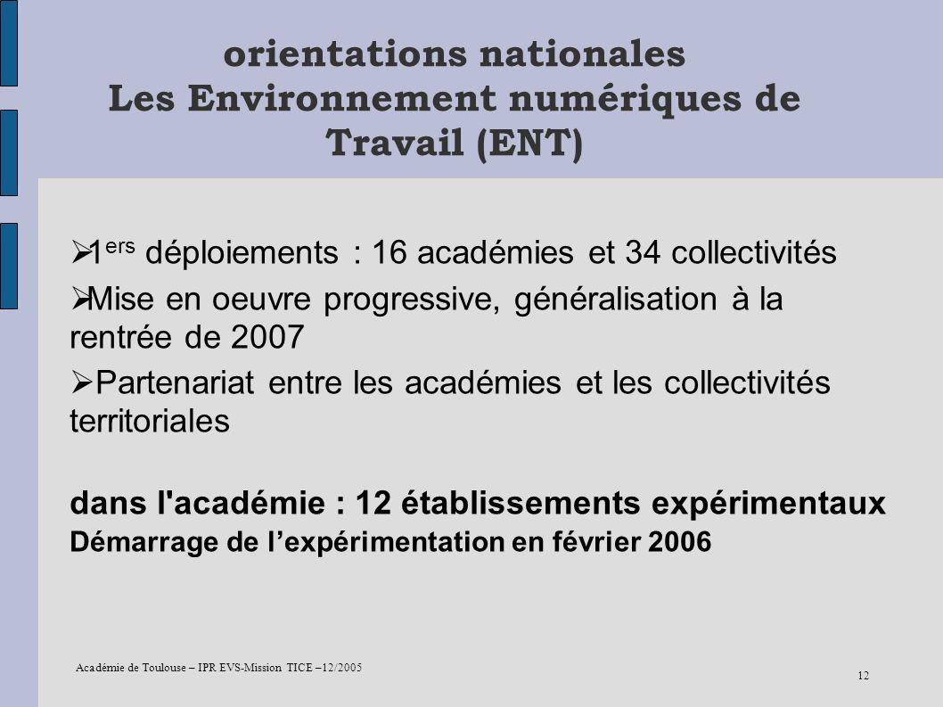 Académie de Toulouse – IPR EVS-Mission TICE –12/2005 12 orientations nationales Les Environnement numériques de Travail (ENT) 1 ers déploiements : 16