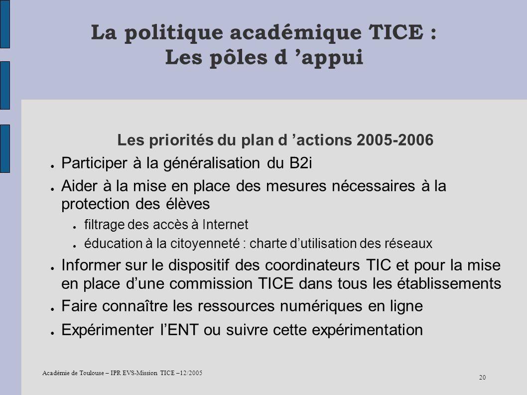 Académie de Toulouse – IPR EVS-Mission TICE –12/2005 20 La politique académique TICE : Les pôles d appui Les priorités du plan d actions 2005-2006 Par