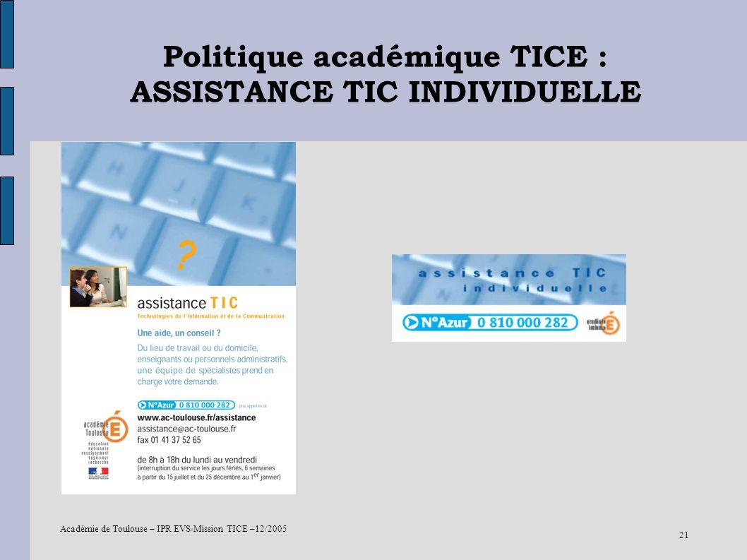 Académie de Toulouse – IPR EVS-Mission TICE –12/2005 21 Politique académique TICE : ASSISTANCE TIC INDIVIDUELLE