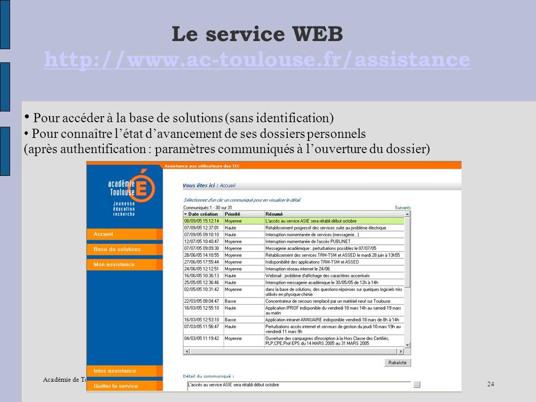 Académie de Toulouse – IPR EVS-Mission TICE –12/2005 24 Le service WEB http://www.ac-toulouse.fr/assistance http://www.ac-toulouse.fr/assistance Pour