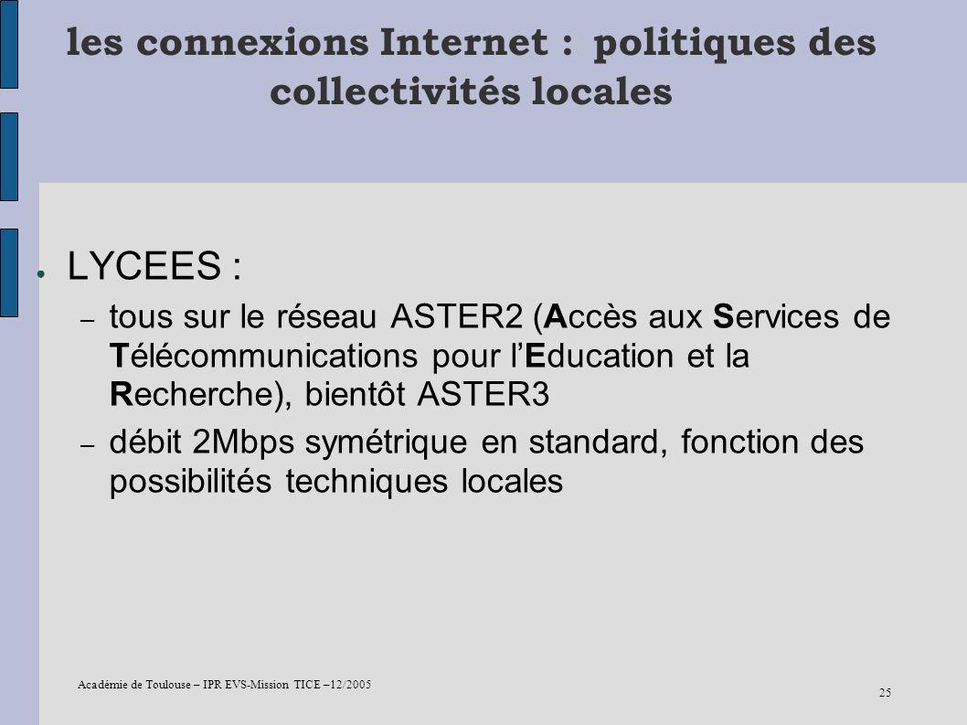 Académie de Toulouse – IPR EVS-Mission TICE –12/2005 25 les connexions Internet : politiques des collectivités locales LYCEES : – tous sur le réseau A