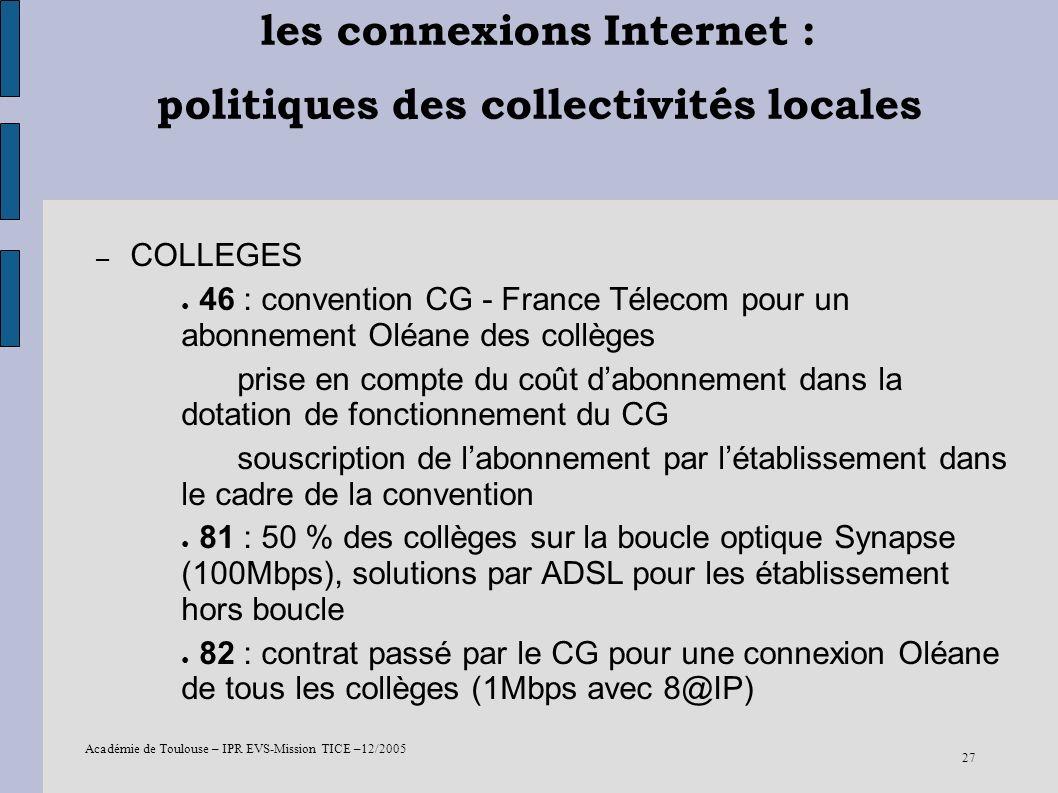 Académie de Toulouse – IPR EVS-Mission TICE –12/2005 27 les connexions Internet : politiques des collectivités locales – COLLEGES 46 : convention CG -