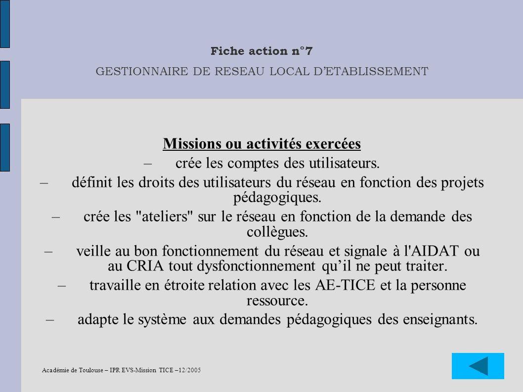 Académie de Toulouse – IPR EVS-Mission TICE –12/2005 29 Fiche action n°7 GESTIONNAIRE DE RESEAU LOCAL DETABLISSEMENT Missions ou activités exercées –c