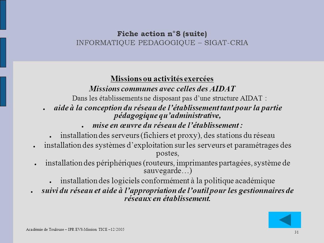Académie de Toulouse – IPR EVS-Mission TICE –12/2005 31 Fiche action n°8 (suite) INFORMATIQUE PEDAGOGIQUE – SIGAT-CRIA Missions ou activités exercées