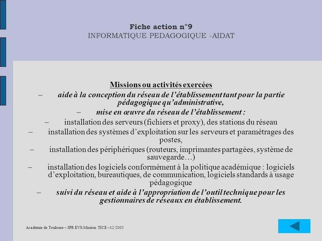 Académie de Toulouse – IPR EVS-Mission TICE –12/2005 32 Fiche action n°9 INFORMATIQUE PEDAGOGIQUE -AIDAT Missions ou activités exercées –aide à la con