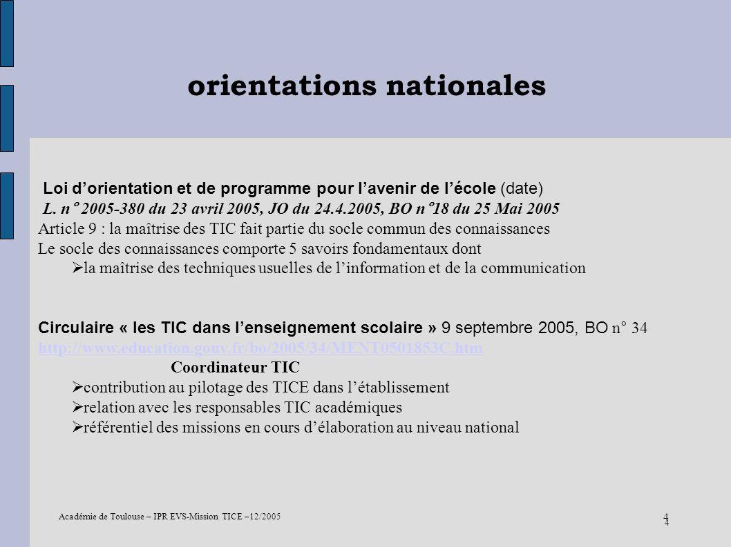 Académie de Toulouse – IPR EVS-Mission TICE –12/2005 4 orientations nationales 4 Loi dorientation et de programme pour lavenir de lécole (date) L. n°