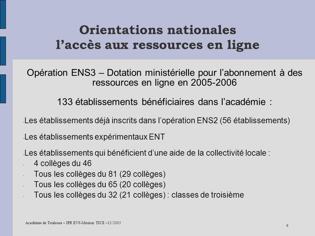 Académie de Toulouse – IPR EVS-Mission TICE –12/2005 6 Orientations nationales laccès aux ressources en ligne Opération ENS3 – Dotation ministérielle