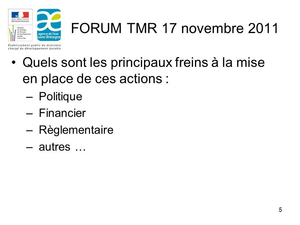 5 Quels sont les principaux freins à la mise en place de ces actions : – Politique – Financier – Règlementaire – autres … FORUM TMR 17 novembre 2011