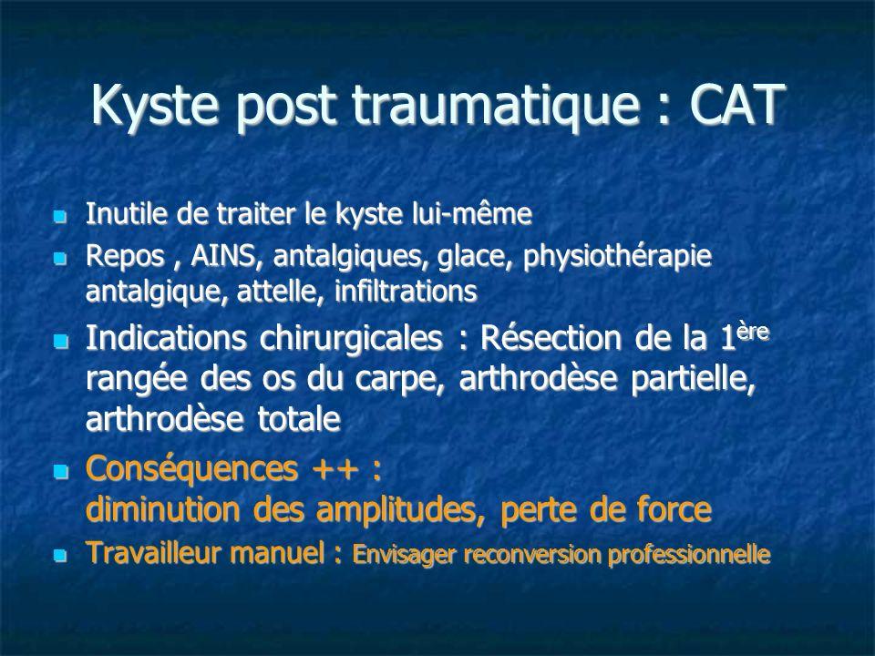 Kyste post traumatique : CAT Inutile de traiter le kyste lui-même Inutile de traiter le kyste lui-même Repos, AINS, antalgiques, glace, physiothérapie