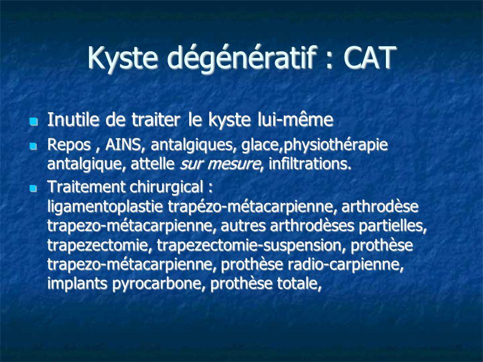 Kyste dégénératif : CAT Inutile de traiter le kyste lui-même Inutile de traiter le kyste lui-même Repos, AINS, antalgiques, glace,physiothérapie antal