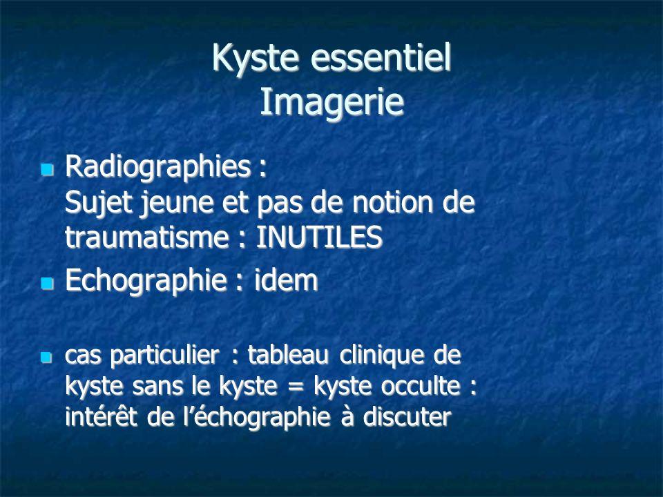 Kyste essentiel Imagerie Radiographies : Sujet jeune et pas de notion de traumatisme : INUTILES Radiographies : Sujet jeune et pas de notion de trauma