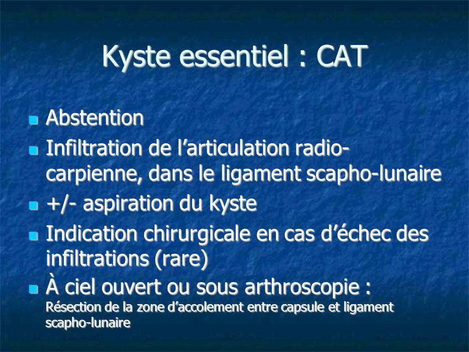 Kyste essentiel : CAT Abstention Abstention Infiltration de larticulation radio- carpienne, dans le ligament scapho-lunaire Infiltration de larticulat