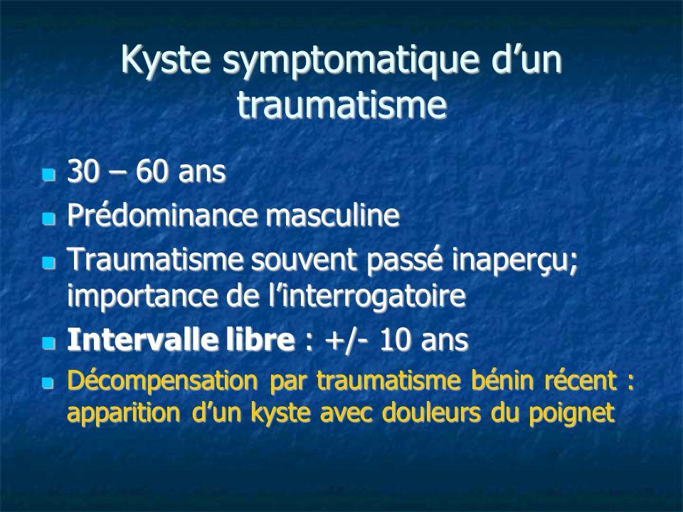 Kyste symptomatique dun traumatisme 30 – 60 ans 30 – 60 ans Prédominance masculine Prédominance masculine Traumatisme souvent passé inaperçu; importan