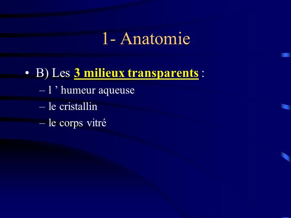 1- Anatomie B) Les 3 milieux transparents : –l humeur aqueuse –le cristallin –le corps vitré