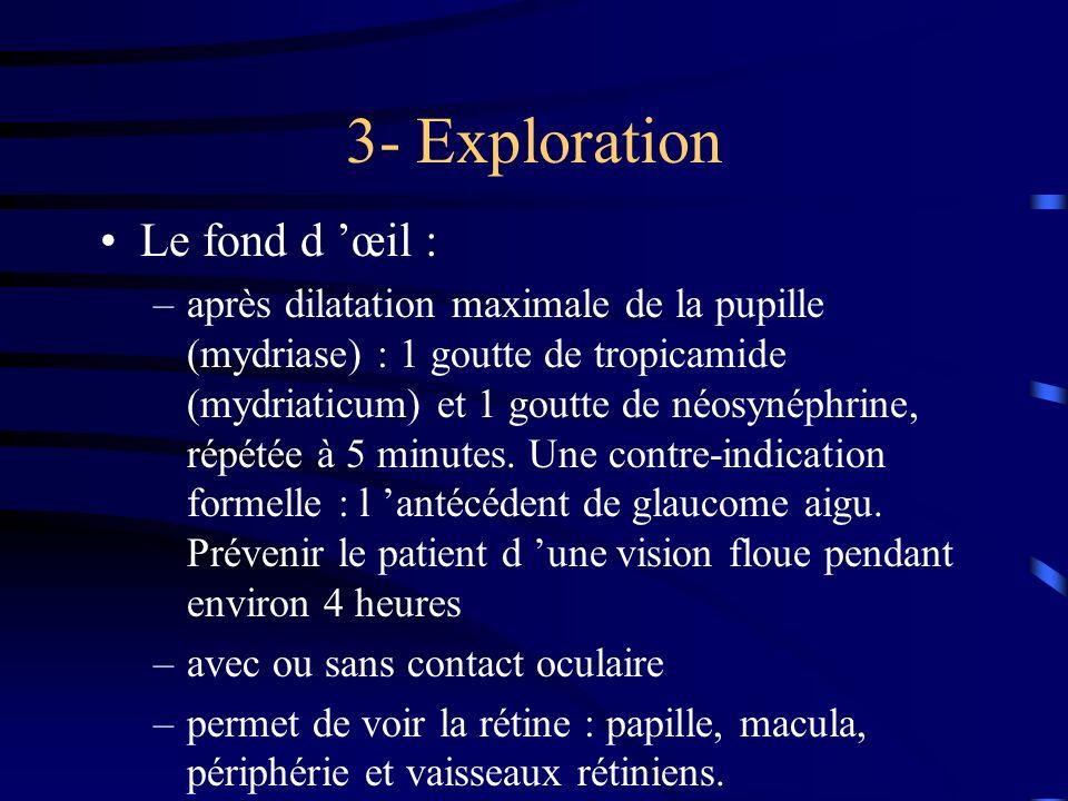 3- Exploration Le fond d œil : –après dilatation maximale de la pupille (mydriase) : 1 goutte de tropicamide (mydriaticum) et 1 goutte de néosynéphrin
