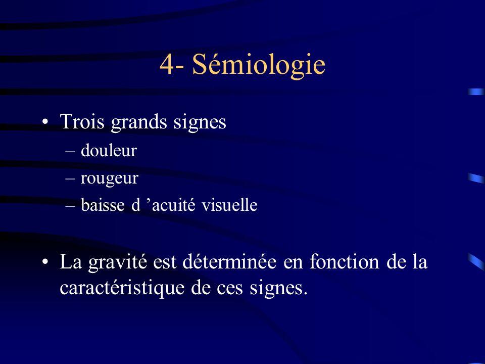 4- Sémiologie Trois grands signes –douleur –rougeur –baisse d acuité visuelle La gravité est déterminée en fonction de la caractéristique de ces signe