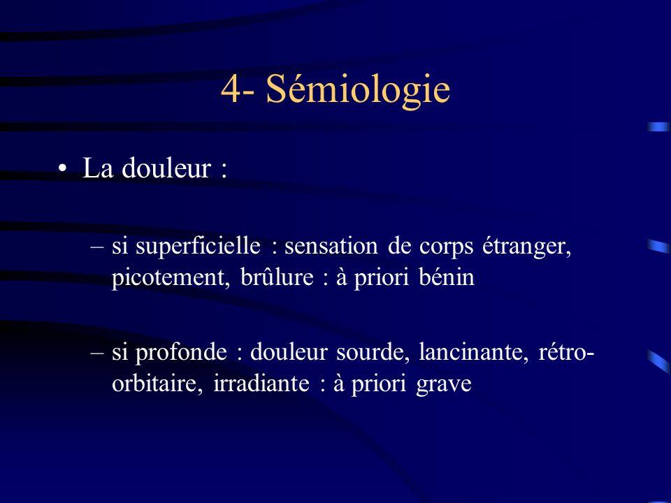 4- Sémiologie La douleur : –si superficielle : sensation de corps étranger, picotement, brûlure : à priori bénin –si profonde : douleur sourde, lancin