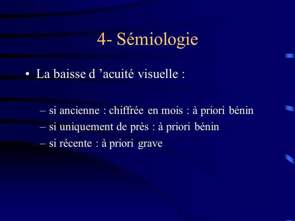 4- Sémiologie La baisse d acuité visuelle : –si ancienne : chiffrée en mois : à priori bénin –si uniquement de près : à priori bénin –si récente : à p