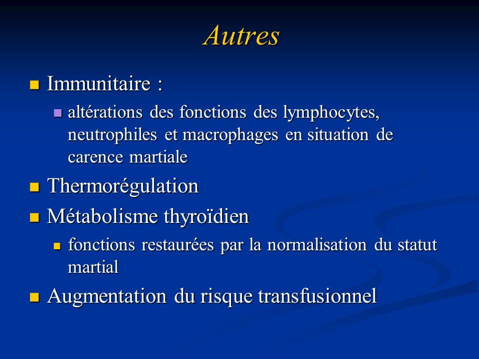 Autres Immunitaire : Immunitaire : altérations des fonctions des lymphocytes, neutrophiles et macrophages en situation de carence martiale altérations