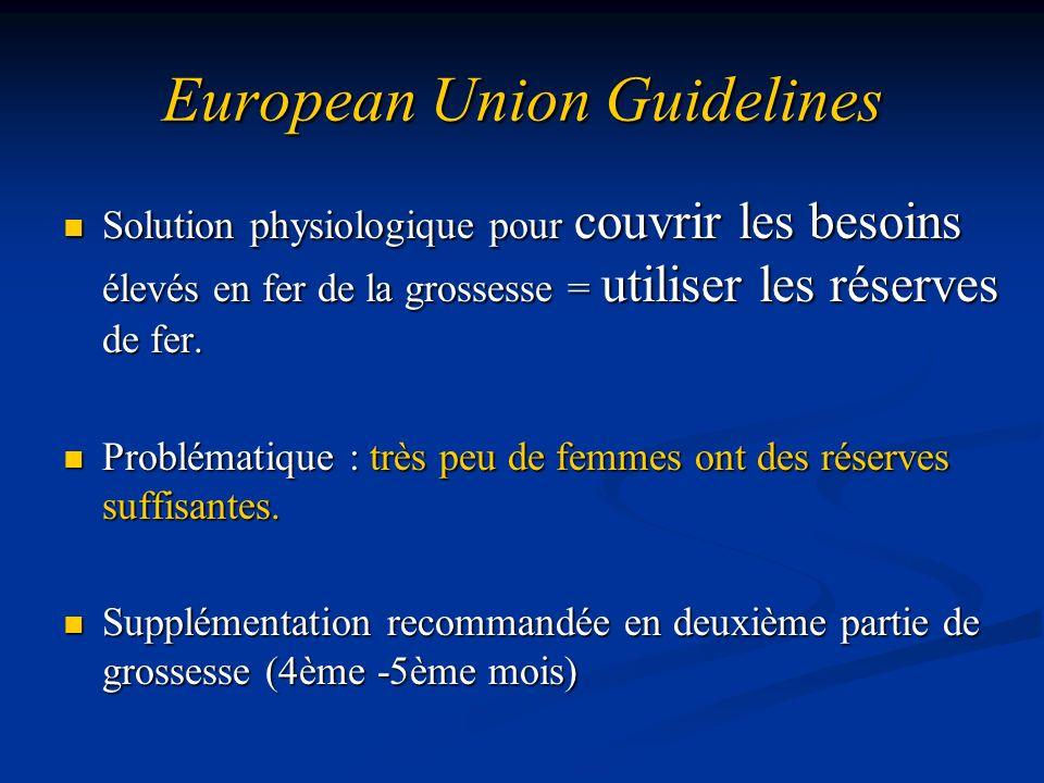 European Union Guidelines Solution physiologique pour couvrir les besoins élevés en fer de la grossesse = utiliser les réserves de fer. Solution physi