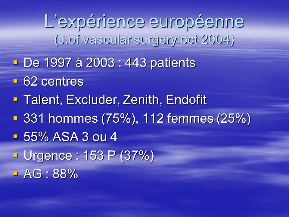 Lexpérience européenne (J.of vascular surgery oct 2004) De 1997 à 2003 : 443 patients De 1997 à 2003 : 443 patients 62 centres 62 centres Talent, Excl