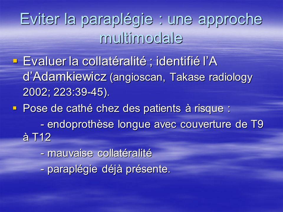 CAT en cas de paraplégie(1) Détection précoce : surv/H pendant 24 h Détection précoce : surv/H pendant 24 h Discuter lindication chirurgicale : bypass de la ss clav (A vert G) Discuter lindication chirurgicale : bypass de la ss clav (A vert G) Maintenir une PAM supérieure à 90.
