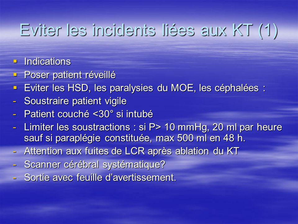 Eviter les incidents liées aux KT (2) Rupture de KT : Rupture de KT : - Ablation par praticien -Décubitus latéral, jambes fléchies.