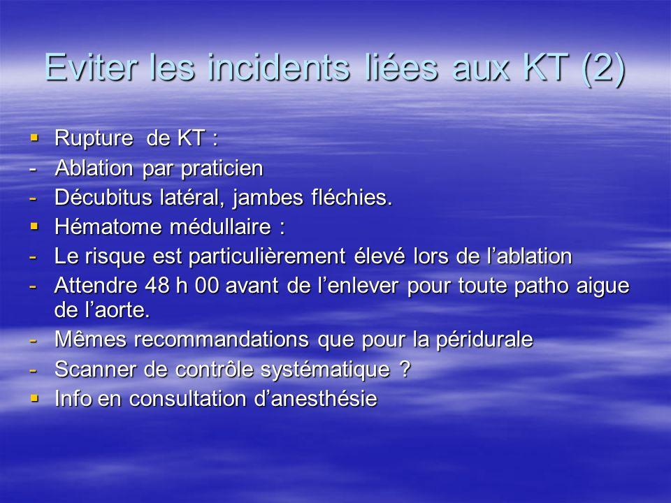 Eviter les incidents liées aux KT (3) Méningites : Méningites : -Pose rigoureuse -48h 00 sans dépasser 5 jours -Bactério 10 gouttes de LCR avant ablation KT.