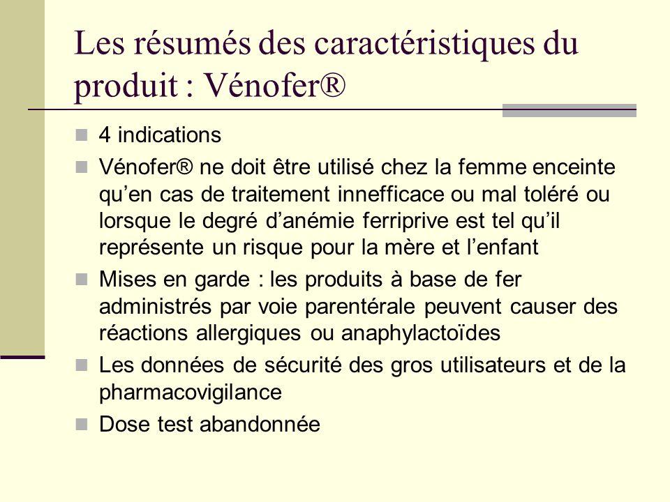 Les résumés des caractéristiques du produit : Vénofer® 4 indications Vénofer® ne doit être utilisé chez la femme enceinte quen cas de traitement innef