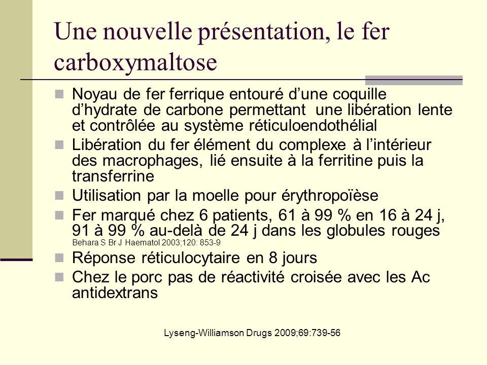 Une nouvelle présentation, le fer carboxymaltose Noyau de fer ferrique entouré dune coquille dhydrate de carbone permettant une libération lente et co