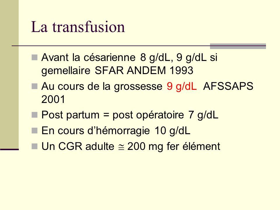 La transfusion Avant la césarienne 8 g/dL, 9 g/dL si gemellaire SFAR ANDEM 1993 Au cours de la grossesse 9 g/dL AFSSAPS 2001 Post partum = post opérat