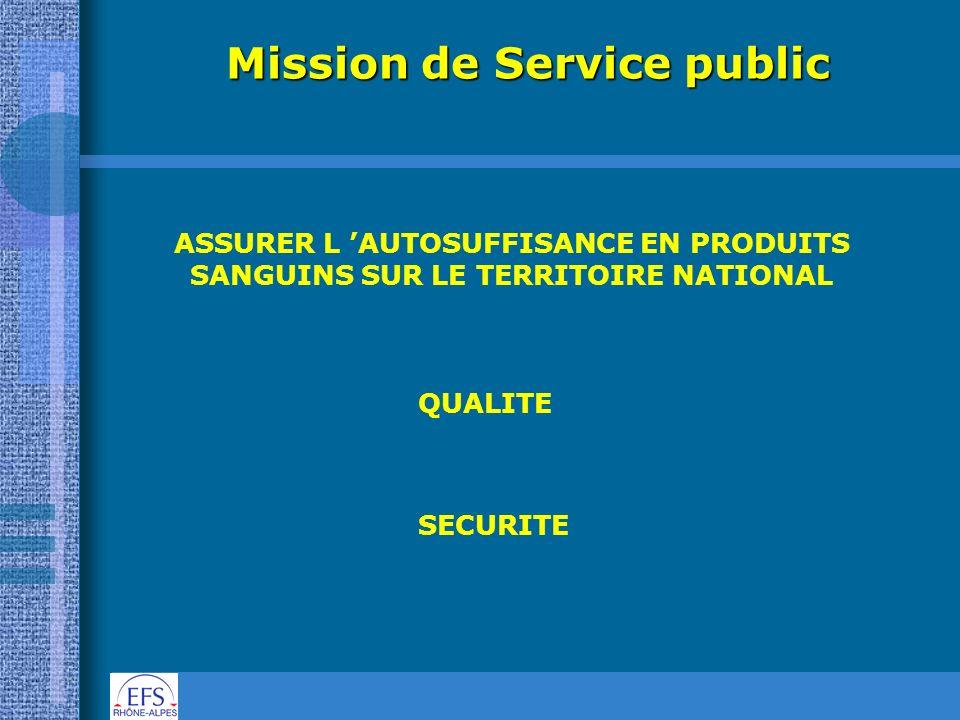 Mission de Service public ASSURER L AUTOSUFFISANCE EN PRODUITS SANGUINS SUR LE TERRITOIRE NATIONAL QUALITE SECURITE