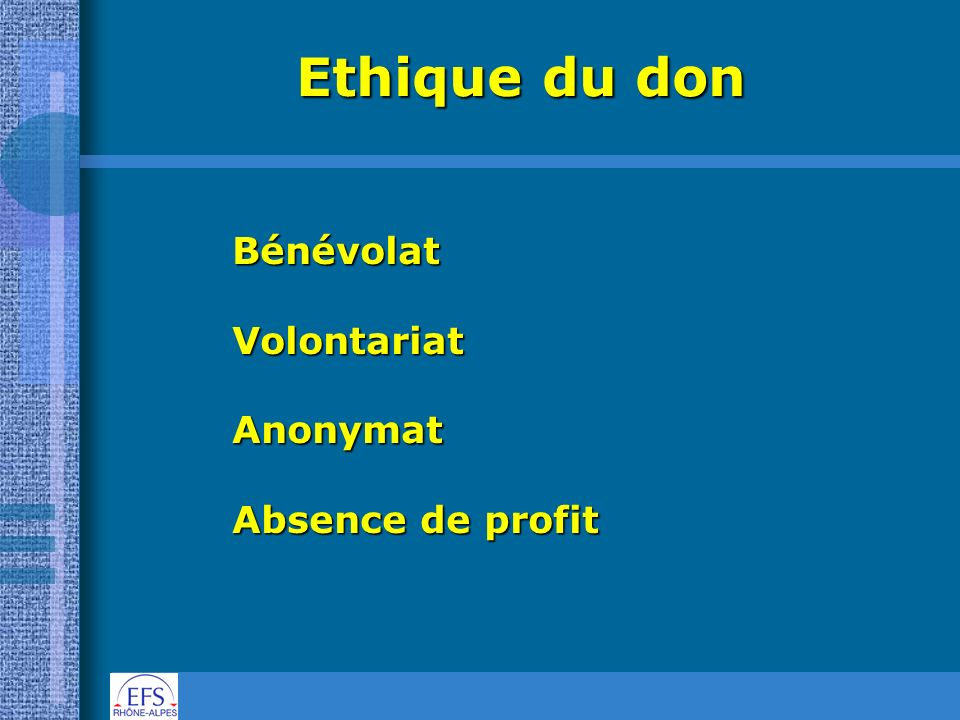 Ethique du don BénévolatVolontariatAnonymat Absence de profit