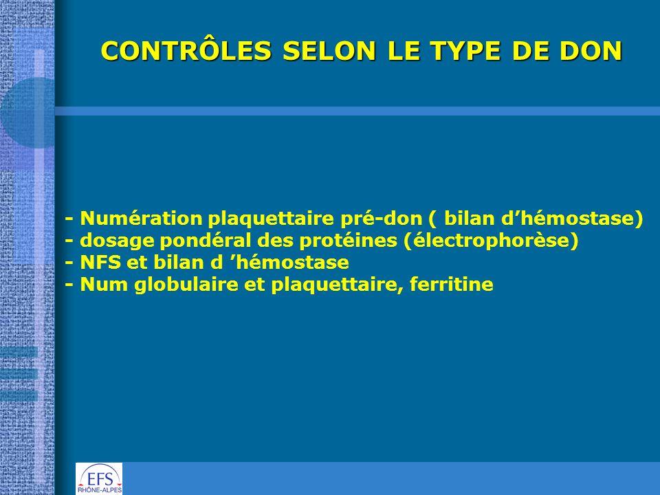 CONTRÔLES SELON LE TYPE DE DON - Numération plaquettaire pré-don ( bilan dhémostase) - dosage pondéral des protéines (électrophorèse) - NFS et bilan d