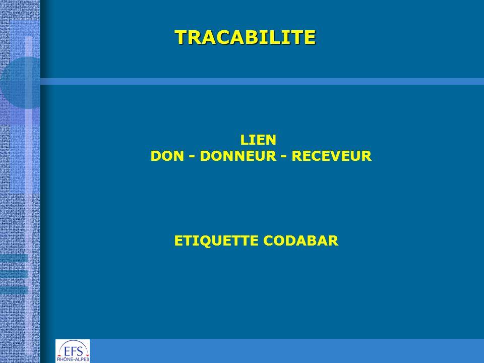 TRACABILITE LIEN DON - DONNEUR - RECEVEUR ETIQUETTE CODABAR