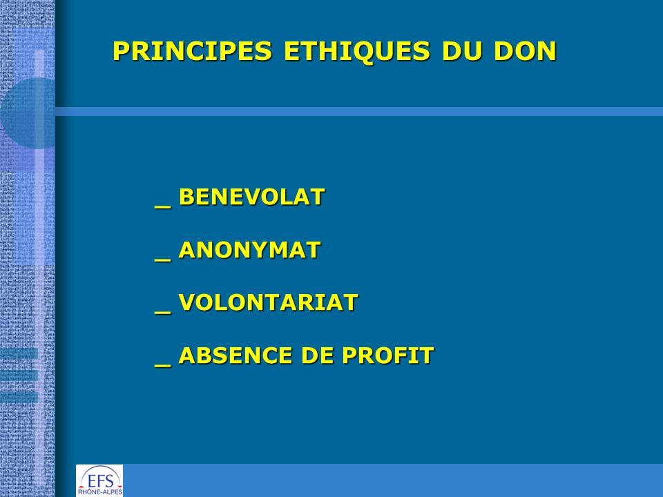 PRINCIPES ETHIQUES DU DON _ BENEVOLAT _ ANONYMAT _ VOLONTARIAT _ ABSENCE DE PROFIT