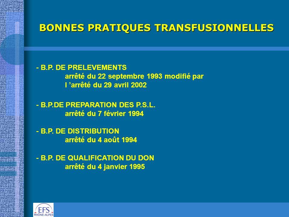BONNES PRATIQUES TRANSFUSIONNELLES - B.P. DE PRELEVEMENTS arrêté du 22 septembre 1993 modifié par l arrêté du 29 avril 2002 - B.P.DE PREPARATION DES P