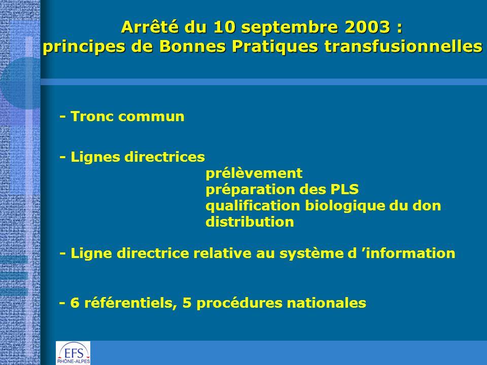 Arrêté du 10 septembre 2003 : principes de Bonnes Pratiques transfusionnelles - Tronc commun - Lignes directrices prélèvement préparation des PLS qual
