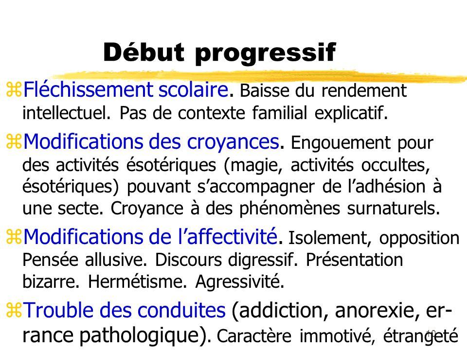 11 Début progressif zApparition progressive d idées délirantes, d halluci- nations ou de symptômes dépressifs atypiques.