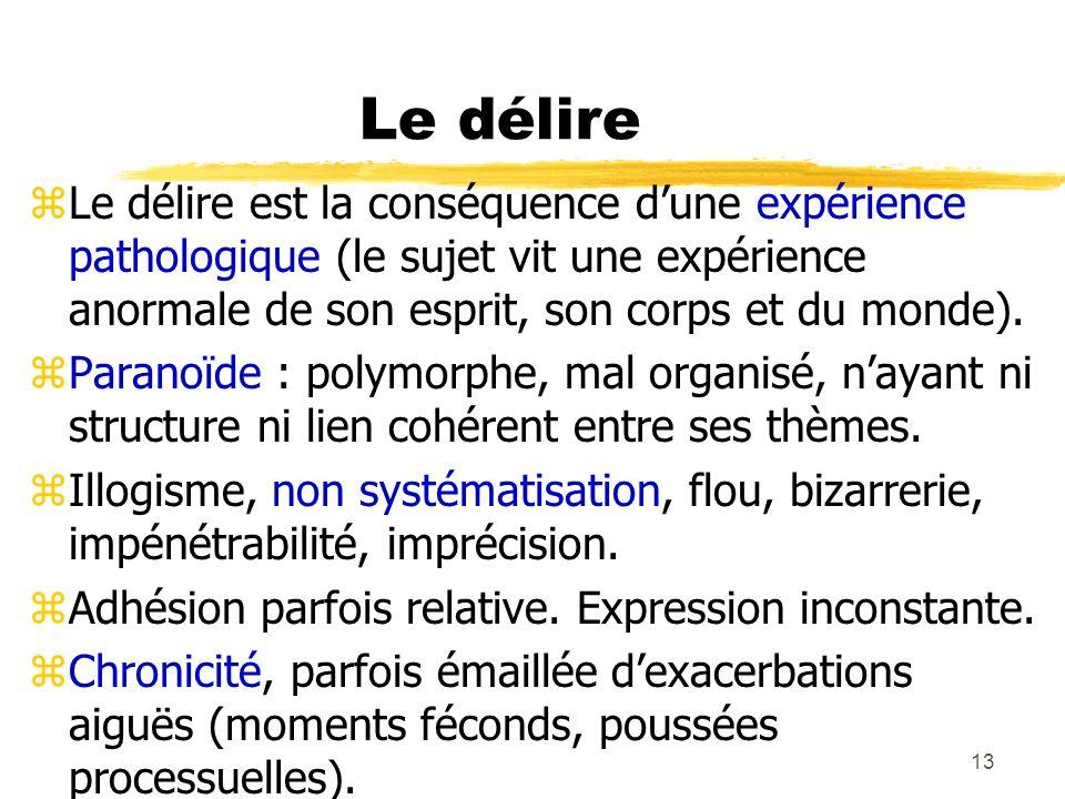 14 Le délire zThématiques multiples : yidées délirantes dinfluence (pensées ou sentiments imposés ou suggérés, actes ou impulsions imposées, etc.).