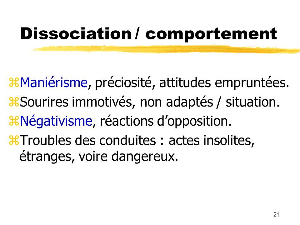 22 La discordance zAmbivalence : yaffective (amour/haine, attirance/répulsion…) yde la volonté (ambitendance : le patient veut 2 choses contraires à la fois) yintellectuelle (2 concepts opposés sont exprimés) zBizarrerie (idées étranges, baroques) zImpénétrabilité (discours, conduite énigmatiques) zDétachement du réel : retrait affectif, repli autistique, apragmatisme, athymormie, désintérêt, perte de contact vital avec la réalité (Minkowski).