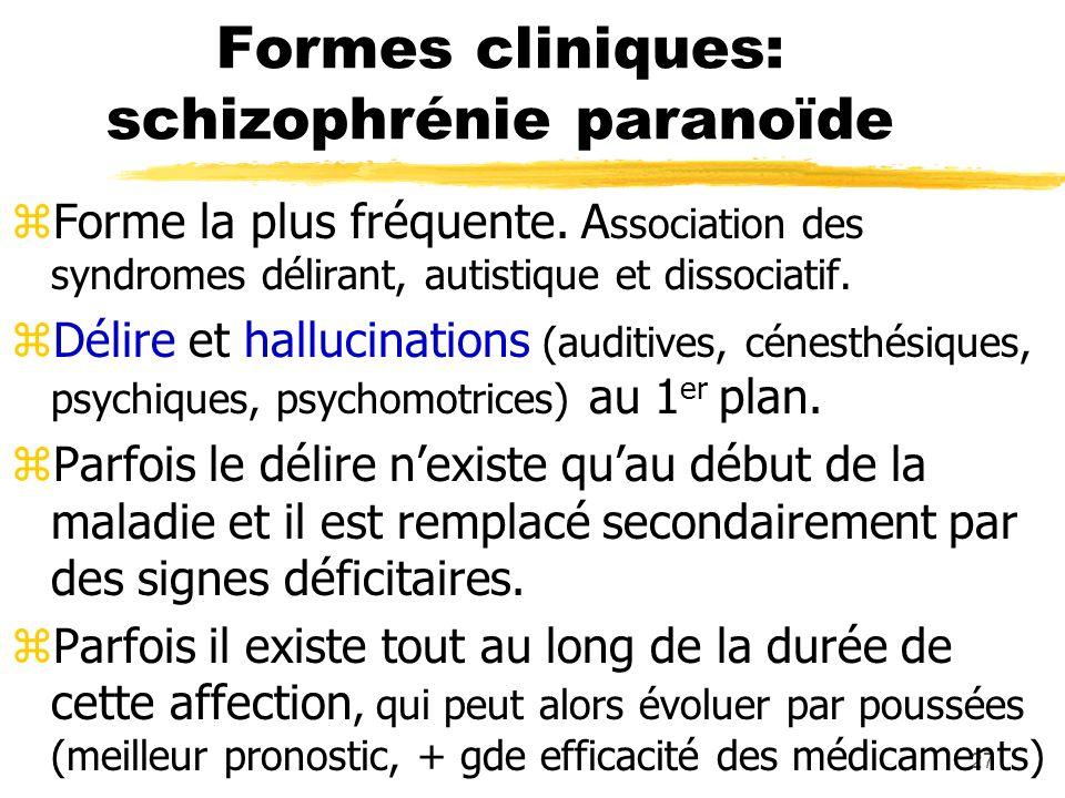 28 Formes cliniques: la catatonie zForme assez rare actuellement caractérisée par une prédo - minance de la discordance comportementale ou psychomotrice.