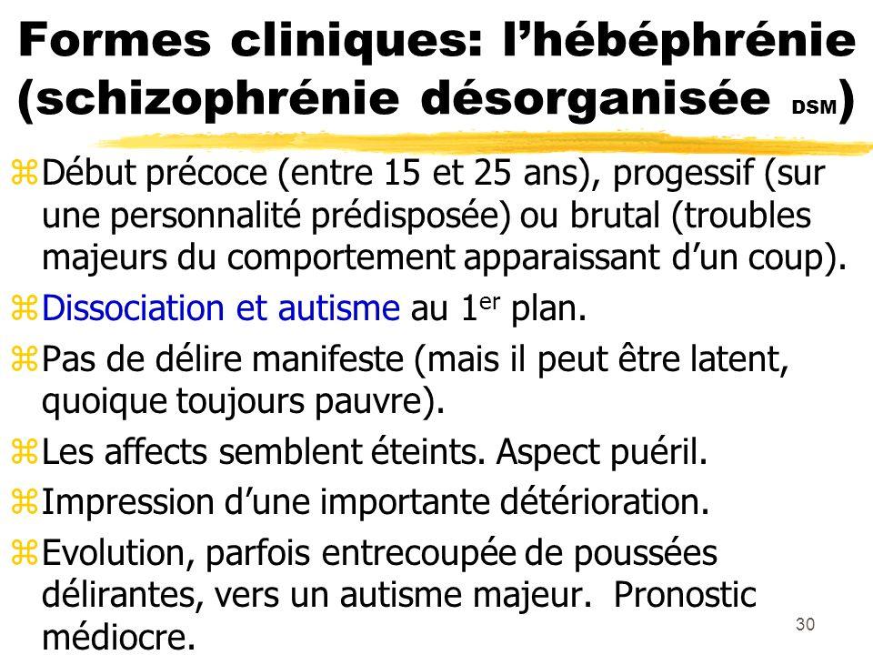 31 Autres formes cliniques zSchizophrénie simple : installation insidieuse et progressive de symptômes négatifs.