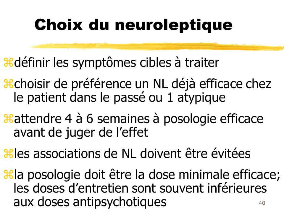 41 Bilan initial z- ECG (QT) z- NFS (impératif pour la clozapine) z- bilan hépatique zEvaluer la prescription en cas dantécédent allergique, chez les toxicomanes, en cas de pathologie cardiaque grave, chez lépileptique, en cas de glaucome
