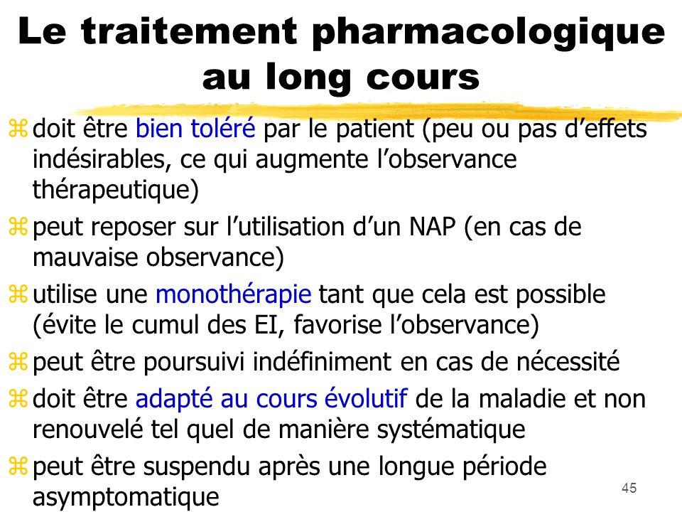 46 Neuroleptiques zLes antipsychotiques ou neuroleptiques atypiques : olanzapine (5-20mg/j), risperidone (2- 6mg/j), clozapine (150-600mg/j - contrôle de la NFS) zLes neuroleptiques sédatifs : lévomépromazine (100-300mg/j), loxapine (100-300mg/j).