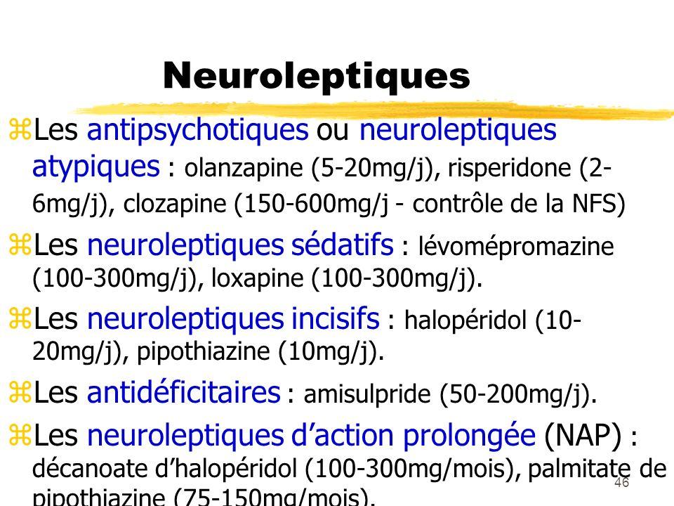 47 EI psychiques des neuroleptiques zSédation - Somnolence zIndifférence psychomotrice zConfusion mentale z Réactivation anxieuse, agressive ou délirante z Dépression - Suicide