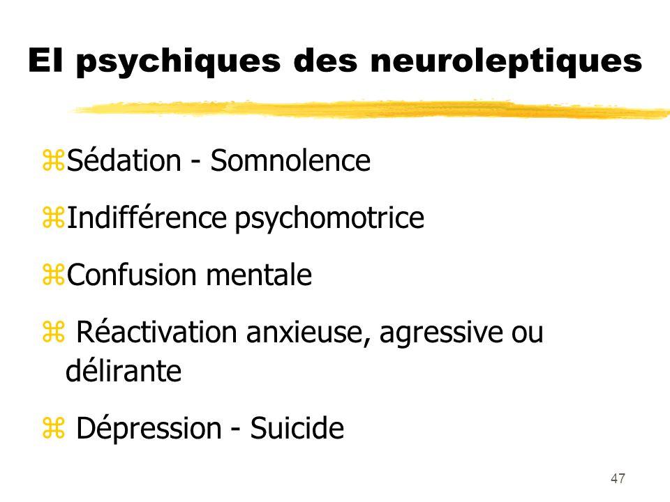 48 EI neurologiques des neuroleptiqes zSyndrome extrapyramidal - dystonies aiguës - parkinsonisme - Akathisie - Tasikinésie - dyskinésies tardives - rabbit syndrome z Epilepsie