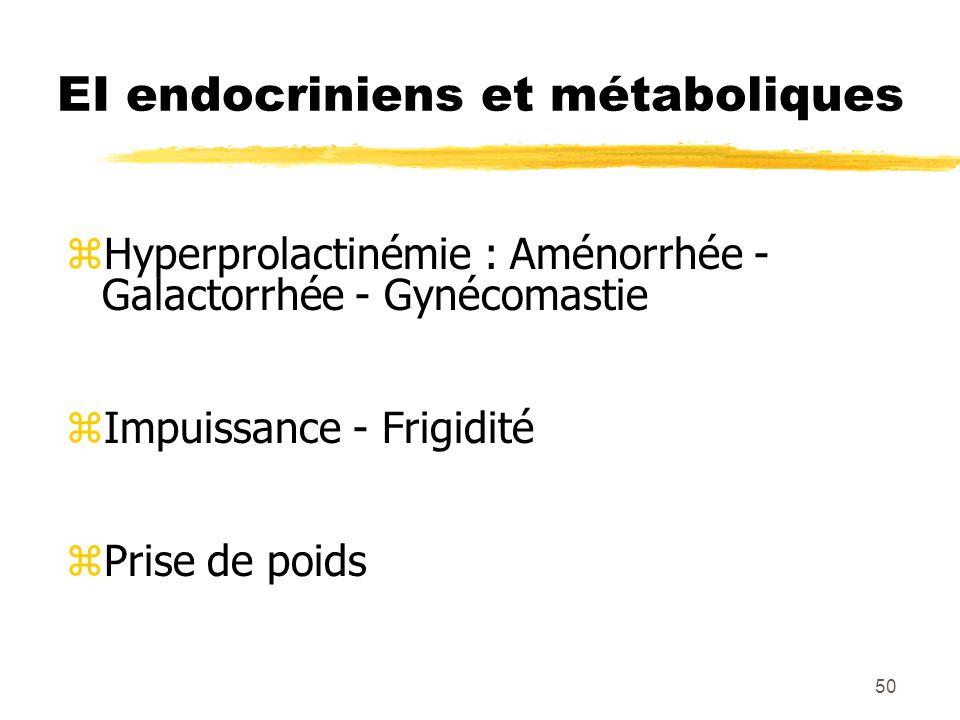 51 EI cardiaques et hématologiques zAllongement de lintervalle QT zTroubles du rythme (torsade de pointe, tachycardie ventriculaire) zLeucopénie z Agranulocytose (clozapine) Risque de mort subite